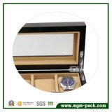 Rectángulo de reloj de madera negro de lujo con 5 ranuras