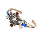 새로운 우아한 Retro 다채로운 박아 넣어진 다이아몬드와 원석 합금 여자는 팔찌를 연다