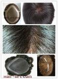 Человеческие волосы 100%/шнурок & впрыснутый Toupee с толщиным основанием PU