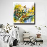 Pittura a olio naturale della tela di canapa della decorazione della parete dell'illustrazione del giardino di paesaggio del fiore di paesaggio di stile europeo