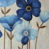Blaue anstreichende Blumen - Segeltuch-Wand-Künste