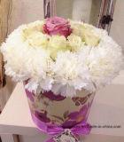 Tubo de papel Hat de Verificación de flor rosa, flor Mostrar caja de papel, el cuadro de flores
