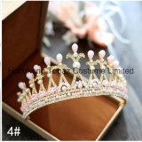 De barokke Retro Kroon van het Kristal van de Juwelen van het Huwelijk van de Kroon van de Diamant van de Tiara van de Bruid Met de hand gemaakte Geparelde (EC01)