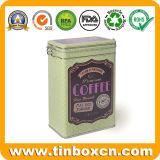 Venda de embalagens de alimentos de metal quente Café Retângulo Caixa de estanho