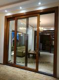Le bois et verre trempé de la porte coulissante en aluminium avec double voies