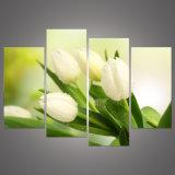 4部分の白いチューリップの花HDの壁モジュラー映像の居間のホーム装飾のためのキャンバスの装飾的な芸術プリント絵画