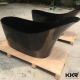 Personalizzato intagliare la vasca da bagno di pietra acrilica di colore nero del reticolo