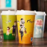 Taza de papel de la bebida caliente verde y ambiental del té promocional