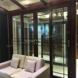 Puerta deslizante de cristal del estilo de Wook de la mirada del doble de aluminio americano del perfil