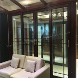 China Make Wood look aluminum of profiles double Glass Sliding Door