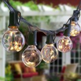 Indicatori luminosi solari della stringa della lampada G40, una lampadina dei 20 LED e 20 indicatori luminosi decorativi solari dei piedi di lunghezza, bianco caldo per il patio, giardino, cortile, iarda, rete fissa, percorso, albero