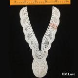 cotone africano del Crochet di stile delle tessile del reticolo unico di 20*32cm o merletto su ordinazione del collare di forma di v del poliestere per i vestiti Hml8509 dalle donne