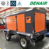 2/4 compresor de aire rotatorio portable diesel del tornillo de las ruedas para el proyecto de la mina de cobre