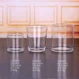 Rundes und quadratisches transparentes Glaskerze-Glas