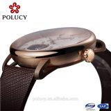 Het in het groot Automatische Mechanische Bruine Horloge van het Leer van het Skelet van Mensen OEM Ingevoerde