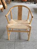 Classic chaise de salle à manger en bois massif naturel avec corde siège