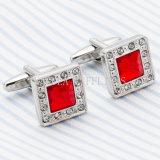 Vagual 빨간 수정같은 모조 다이아몬드 사각 형식 커프스 단추 720