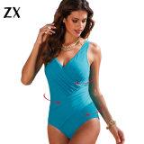 Una pieza de color sólido nuevo traje de baño Mujer Plus Size trajes de baño
