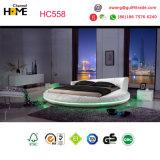 Mobília redonda enorme do quarto da base a mais popular do couro 2017 branco (HC558)