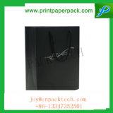 Мешок Kraft высокого качества изготовленный на заказ черным прокатанный лоском бумажный с логосом