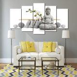 Zen Bouddha d'art de toile de partie de l'impression 5 de HD avec des impressions de toile de Bouddha de peinture d'orchidée