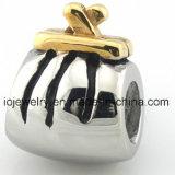 Joyería al por mayor del regalo del encanto del grano con el oro 18k plateado