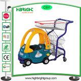 Il supermercato scherza il carrello ed il passeggiatore del bambino con il cestino del metallo