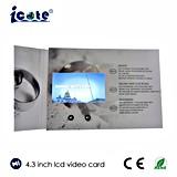 Alta calidad folleto video de la pantalla del LCD de 4.3 pulgadas para la invitación de la boda