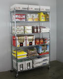 조정가능한 4개의 층 크롬 금속 스테인리스 철사 선반 트롤리 대중음식점 부엌 장비 음식 저장 선반 선반설치