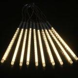 Luzes de string externa alimentada a energia solar chuveiro de Meteoros LED luzes de chuva caindo Raindrop 10 tubos de luz LED 240 Luzes de fadas em cascata para Piscina Jardim de Natal