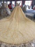 Новое прибытие линия платье Шампань Weddng шеи шлюпки