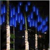 Chaîne de plein air lumières LED solaire pluie de météores des feux de la pluie tombant goutte de pluie lumière 10 Tubes 240 LED feux de fée en cascade pour l'extérieur Jardin de Noël