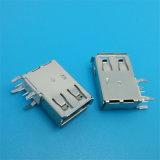 Soquete fêmea com o conetor portuário do USB Jack da tampa plástica