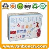 Embalagem de metal retangular articulada com relevo para os Cookies e biscoitos adicionados de embalagens de alimentos