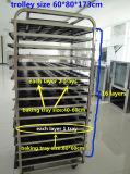 Désassembler le chariot de refroidissement à boulangerie d'acier inoxydable de crémaillère de pain de 16 plateaux