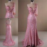 Новые моды один плечо розового цвета пайетками Русалки Группа вечерние платья