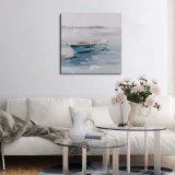 Pittura a olio Handmade della piccola barca su tela di canapa per la decorazione domestica