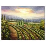 Het met de hand gemaakte Olieverfschilderij van de Wijngaard door het Mes van het Palet