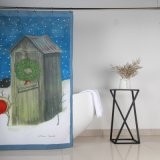 Resistente ao molde Natal Boneco de cortinas de chuveiro de poliéster de Design de impressão