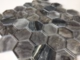 Mattonelle di mosaico di vetro del marmo della miscela del nero esagonale del reticolo