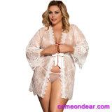 En stock Plus blanc Taille dentelle robe de vêtements de nuit
