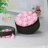 Comercio al por mayor tubo de papel de embalaje de cartón rosa flor sombrero sombrero redondo de lujo/caja de verificación de flores