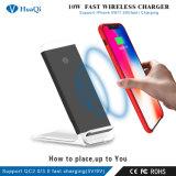 Stand 10W inalámbrica súper rápida Habilitación de Qi Cargador para iPhone/Samsung o Nokia y Motorola/Sony/Huawei/Xiaomi (CE/FCC/RoHS)