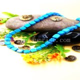 O quadrado perla a colar feita da turquesa natural pura de Stablized