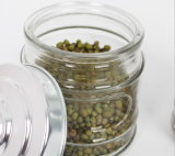 Recipiente de vidro quente do Sell 200ml para o alimento do armazenamento com a tampa do metal para o Kitchenware