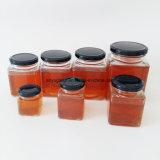 Poubelle de rangement en verre carré pour le miel, les aliments et la sauce