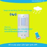 APP todo em uma luz de rua solar do diodo emissor de luz