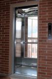 完全なガラス小屋の壁が付いている機械Roomlessの観察のエレベーター