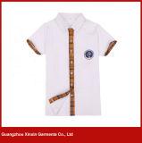 Weißer Großhandelskurzschluß Sleeves Baumwollhemd-Schuluniform (U17)