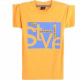 둥근 목 간결 소매 인쇄 t-셔츠